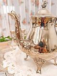 Посеребренный английский заварочный чайник на ножках, серебрение, мельхиор, Англия, 1,2 литра, фото 5