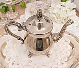 Посеребренный английский заварочный чайник на ножках, серебрение, мельхиор, Англия, 1,2 литра, фото 4