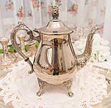 Посеребренный английский заварочный чайник на ножках, серебрение, мельхиор, Англия, 1,2 литра, фото 2