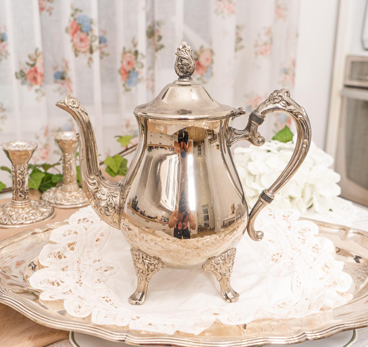 Посеребренный английский заварочный чайник на ножках, серебрение, мельхиор, Англия, 1,2 литра