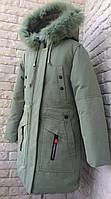 Куртка зимняя на девочку 8-12 лет фисташковый в розницу, фото 1