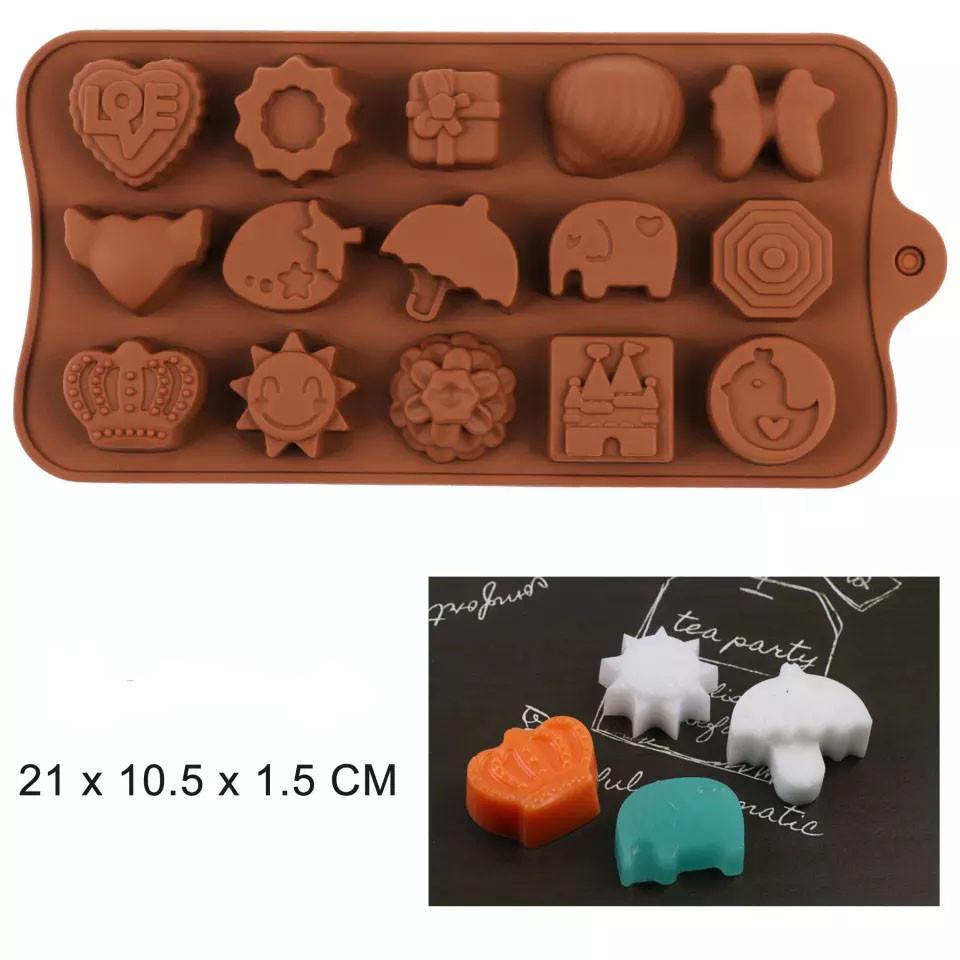 Форма силіконова для цукерок Ассорті з параслькою 15 шт