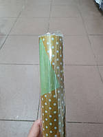 Папір двосторонній в горошок 70*10м. горох золото