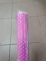 Папір двосторонній в горошок 70*10м. горох рожевий