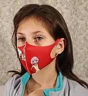 Маска детская подростковая многоразовая защитная Питта полиуретан Красный рисунок с девчонкой
