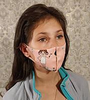 Маска детская подростковая многоразовая защитная Питта полиуретан Розовый рисунок принт девчонка