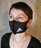 Маска Adidas Адидас многоразовая защитная Питта с принтом ткань Черная