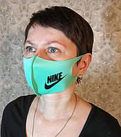 Маска Nike Найк многоразовая защитная Питта с принтом ткань Салатовая