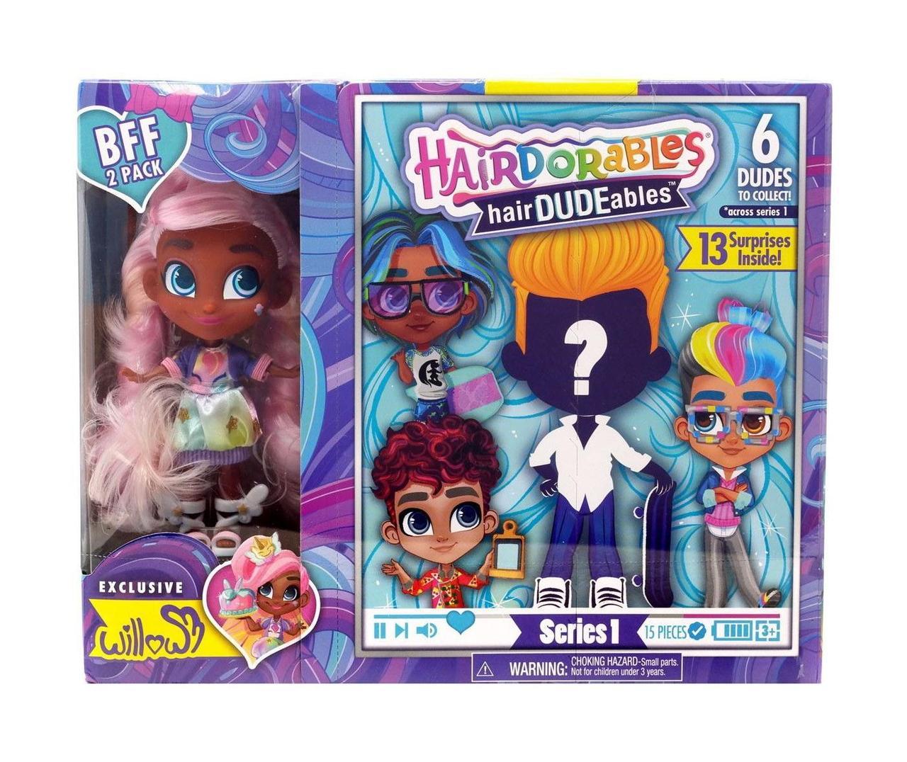 Набор-сюрприз Hairdorables мальчик и девочка Willow | Набор 2 куклы He and She Хэрдораблс