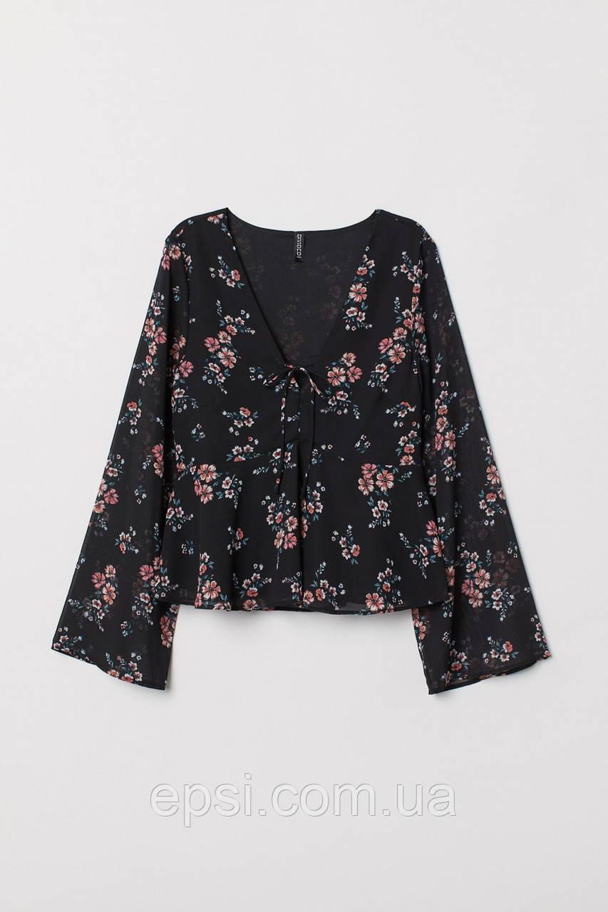 Блуза HM 32 черный цветы 6829369RP3
