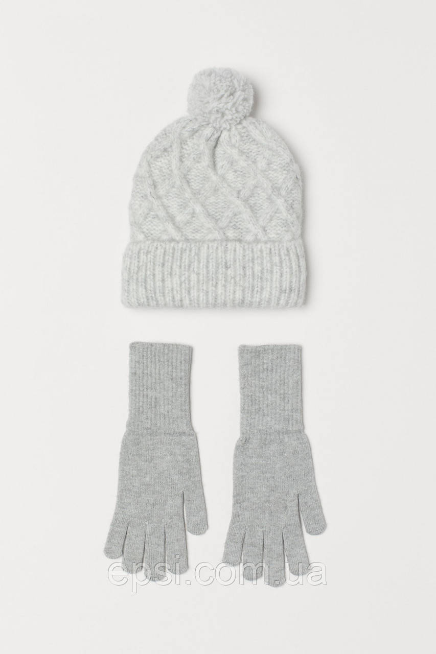 Набор (шапка, перчатки) HM One Size светло-серый меланж 6777368RP2