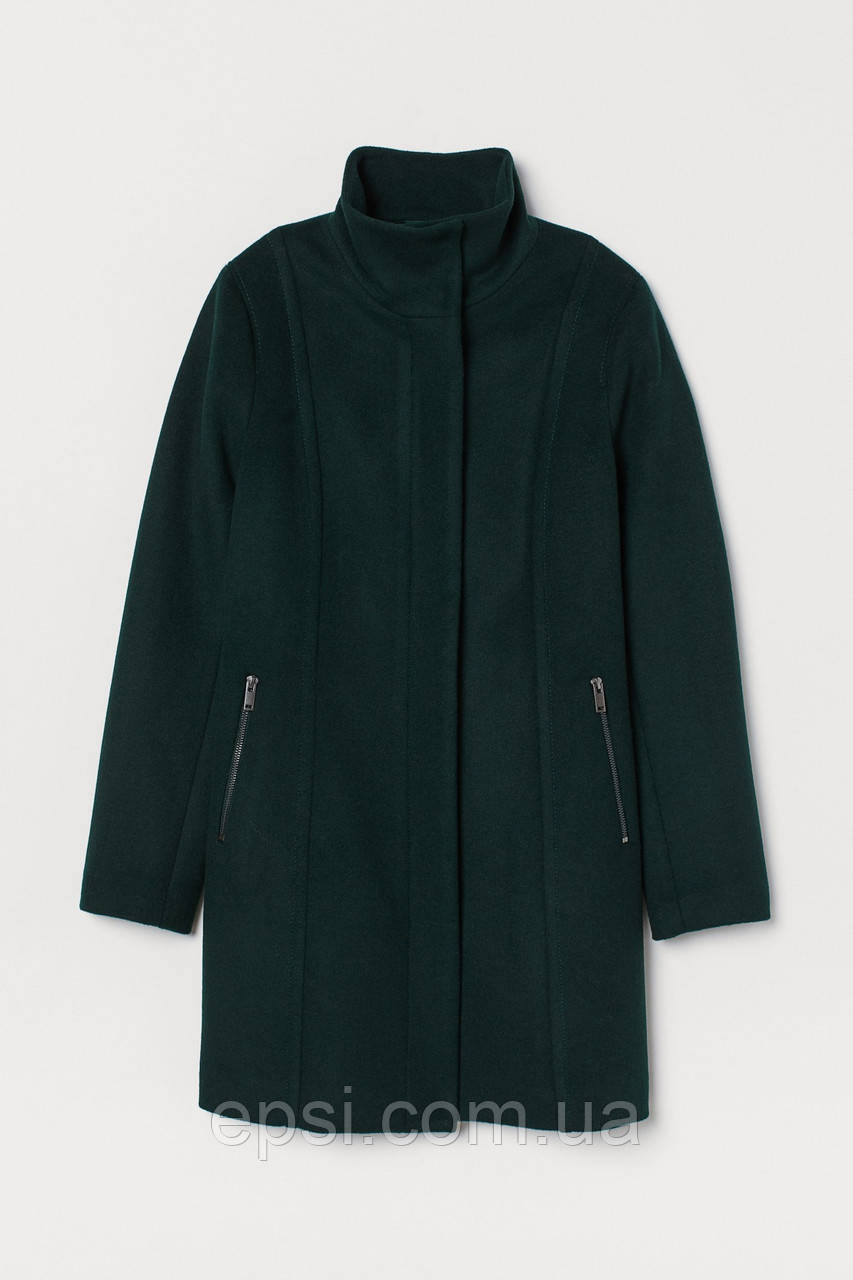 Пальто шерстяное HM 38 темно-зеленый 6617940wt