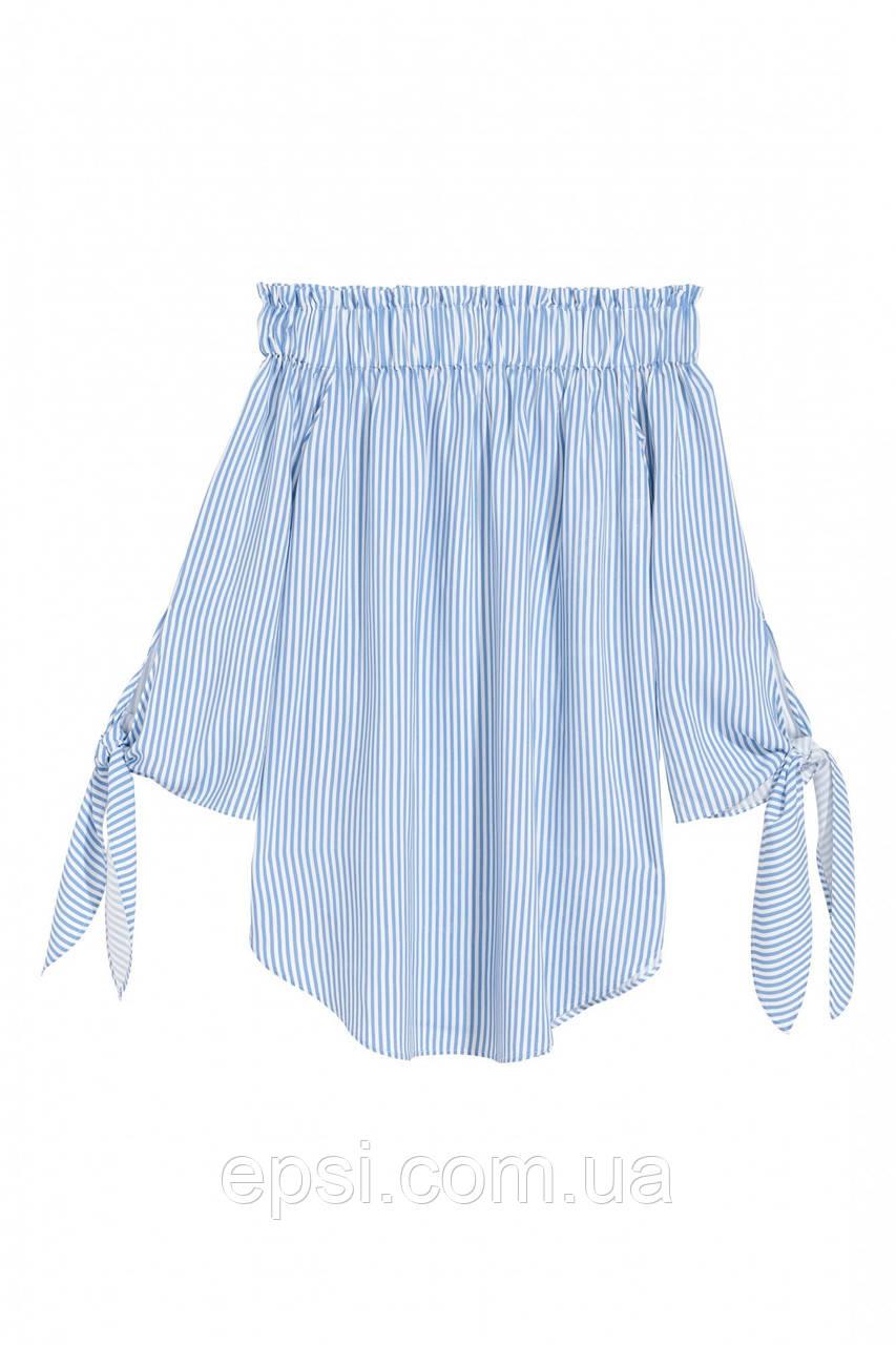Блуза HM 32 белый в голубую полоску 12-6354207