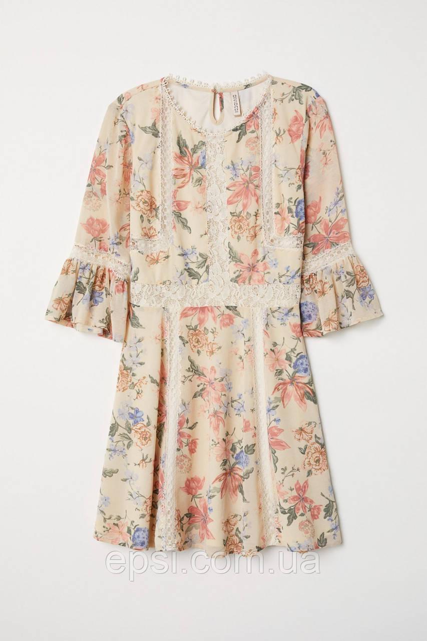 Платье с кружевом HM 36 кремовый цветы 6595638RP5
