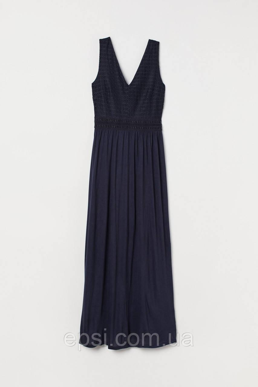 Платье с кружевом HM S темно-синий 7279379RP5