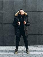 Мужская зимняя куртка с мехом черная