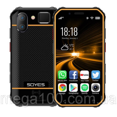 Смартфон Soyes S10 мини (экран 3 дюйма, памяти 3GB/32GB, акб 1900 мАч) NFC цвет оранжевый