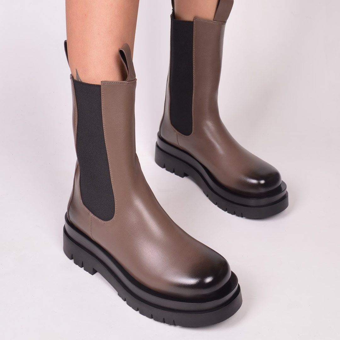 Женские ботинки кремово-коричневые