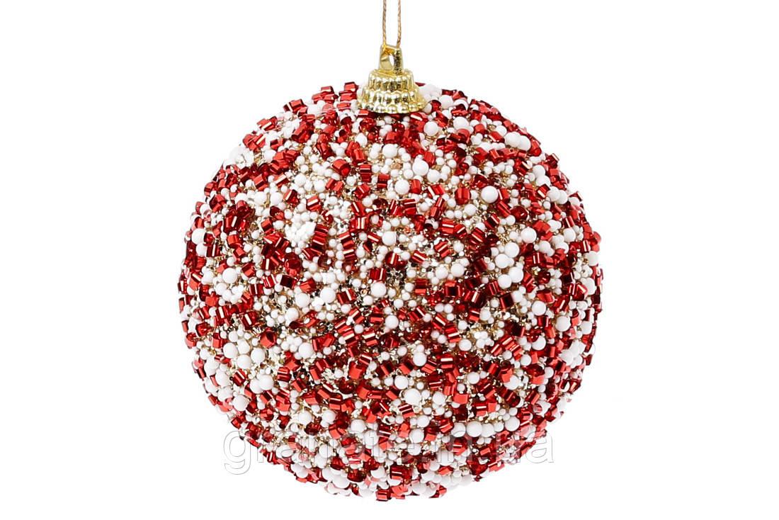 Елочный шар с присыпкой из бисера 8см, цвет - красный (12шт)