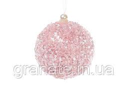 Елочные шары, цвет: розовый 8 см (16 шт)