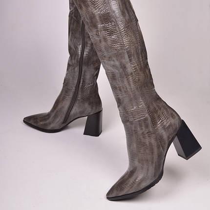 Женские сапоги казаки утепленные серые, фото 2