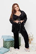 Элегантная велюровая женская пижама-тройка украшенная кружевом с 50 по 64 размер, фото 3