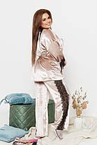 Элегантная велюровая женская пижама-тройка украшенная кружевом с 50 по 64 размер, фото 2