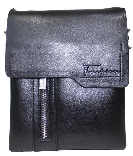 Сумка мужская черная через плечо ремень из эко-кожи закрывается клапаном Fashion 18-88823-3