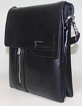 Сумка мужская черная через плечо ремень из эко-кожи закрывается клапаном Fashion 18-88823-3, фото 2