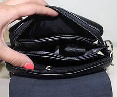 Сумка мужская черная через плечо ремень из эко-кожи закрывается клапаном Fashion 18-88823-3, фото 3