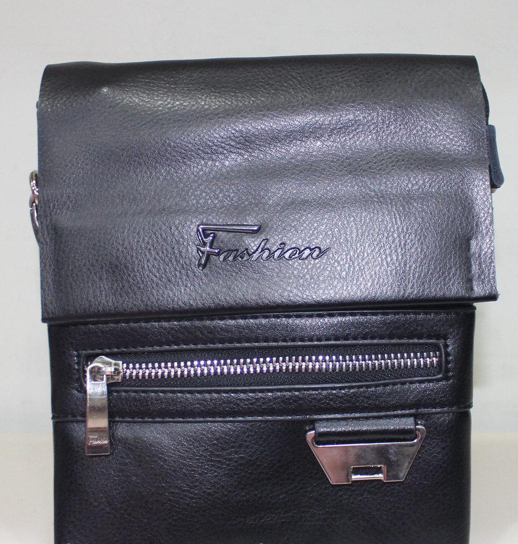 Сумка чоловіча чорна невелика з гладкою еко-шкіри з ременем на плече Fashion 18-88826-1