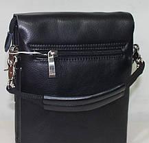 Сумка чоловіча чорна невелика з гладкою еко-шкіри з ременем на плече Fashion 18-88826-1, фото 2