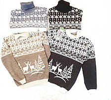 Вязаный свитер детский с оленями на мальчиков от 110 до 146 роста, фото 2
