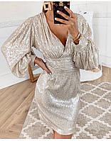 """Шикарное женское платье """"пайетка"""" с декольте норма, р.M(42) Код 236Т"""