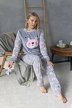 Турецкая зимняя пижама махровая кофта и флисовые штаны в комплекте повязка