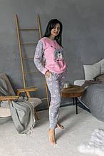 Пижама турецкая зимняя махровая серо-розовый цвет повязка для сна в подарок