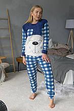 Турецкая зимняя пижама махровая кофта и флисовые штаны с повязкой для сна
