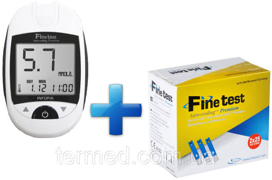 Глюкометр Finetest auto-coding Premium (Файнтест Преміум) + 50 тест полосок