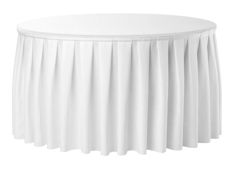 Фуршетна спідниця з липучкою 5,80 м Біла для столу діаметром 180см Стандартної висоти