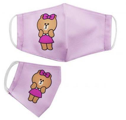 [mask2NEW] Многоразовая 4-х слойная защитная маска размер 3, 10-14 лет мишка розовая