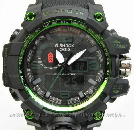 Годинники наручні чорні Casio G-Shock GWG-1000 Black-Green / касіо джишок чорні з зеленим