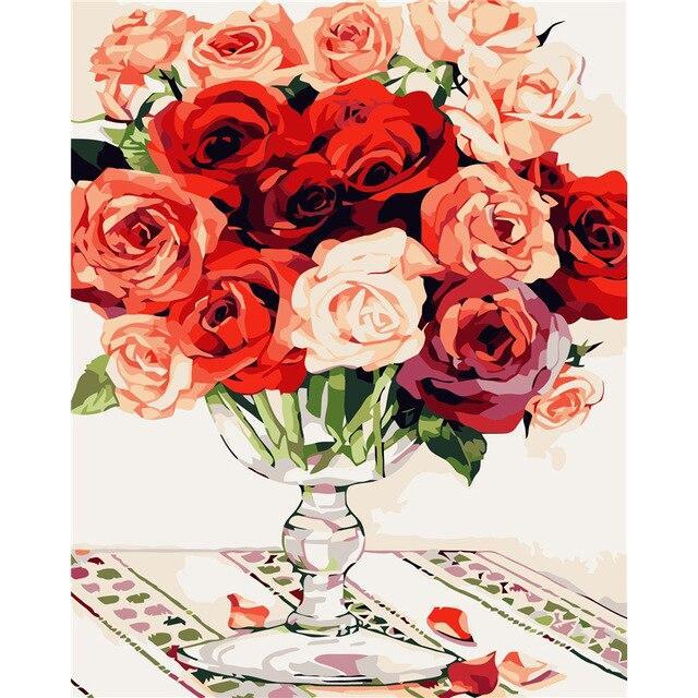 Картина по номерам Яркие розы в коробке, 40*50см Dreamtoys код: DT-118