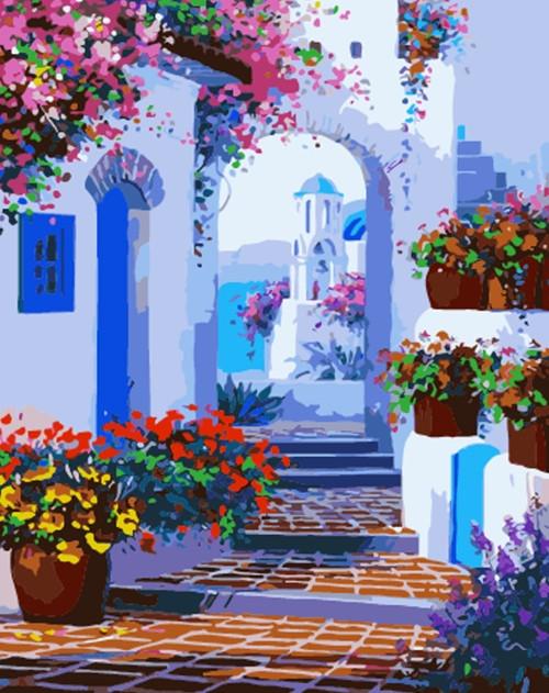 Картина по номерам Белые стены Санторини» 40*50 см, в коробке Dreamtoys код: DT-463