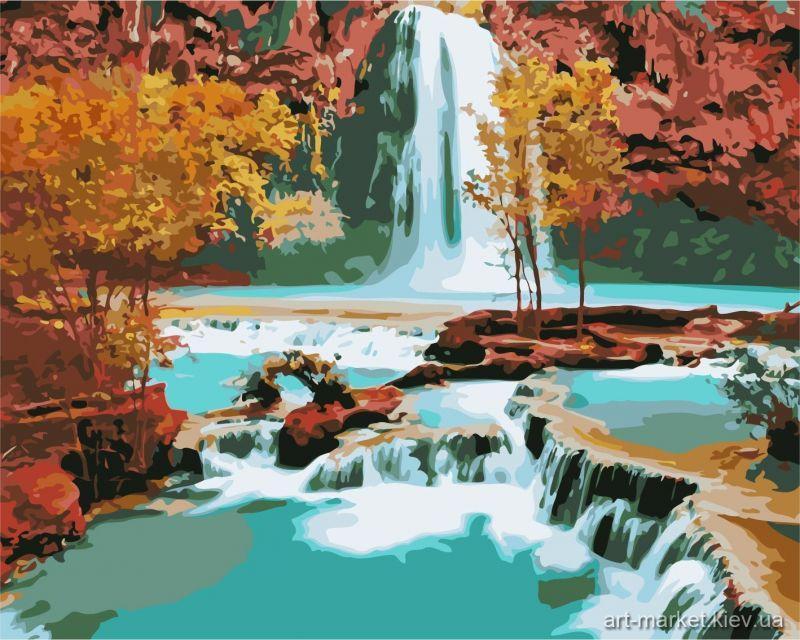 Картина по номерам У подножья водопада» 40*50см, в коробке Dreamtoys код: DT-531
