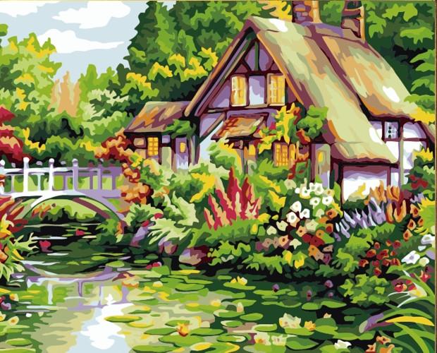 Картина по номерам Домик у пруда» 40*50см, в коробке ТМ Dreamtoys код: DT-635