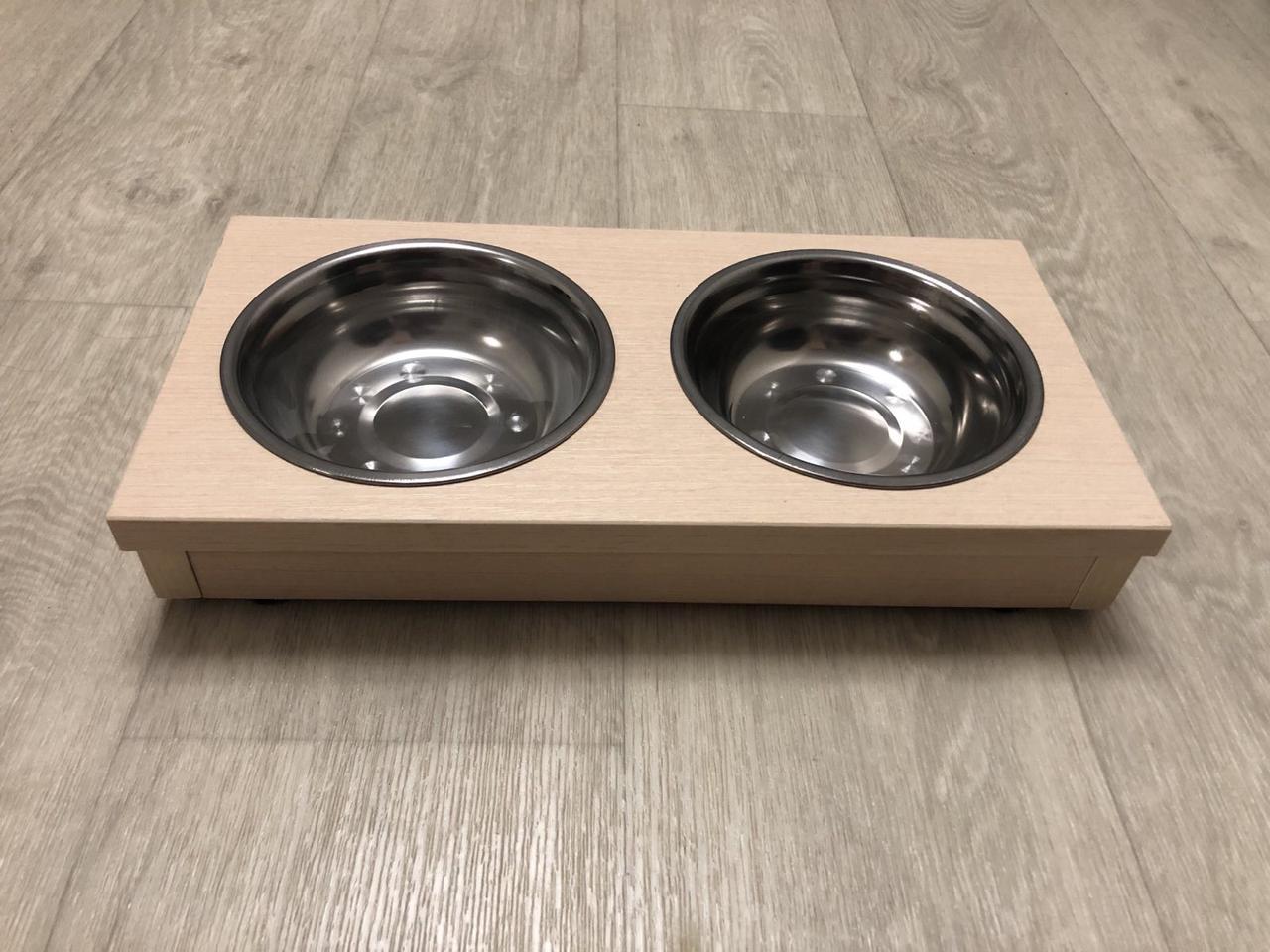 Миски для собак и кошек на деревянной подставке 0,5 л