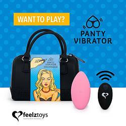 Вибратор в трусики FeelzToys Panty Vibrator Pink с пультом ДУ, 6 режимов работы, сумочка-чехол