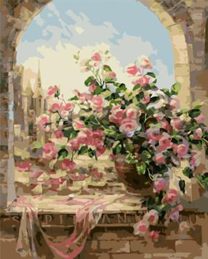 Картина по номерам Цветы возле окна, в термопакете 40*50см Стратег код: VA-0030
