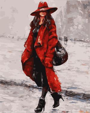Картина по номерам Женщина в красной шляпе, в термопакете 40*50см Стратег код: VA-0044