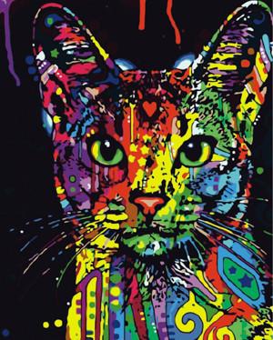 Картина по номерам Яркая кошка, в термопакете 40*50см Стратег код: VA-0149